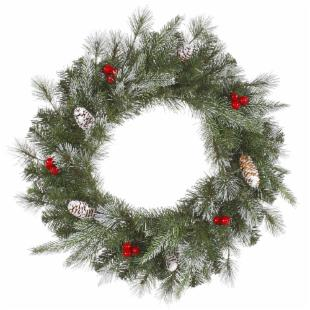 Vickerman 24 in. Pre-Lit Frosted Pine Berry Wreath