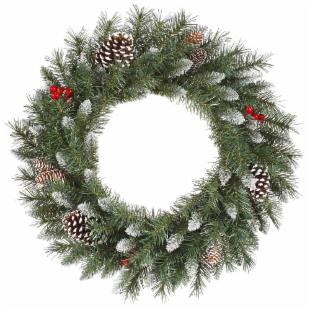 Vickerman 24 in. Pre-Lit Frosted Tip Berry Wreath