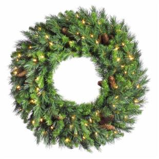 72 in. Cheyenne Pine Pre-lit Christmas Wreath with Cones