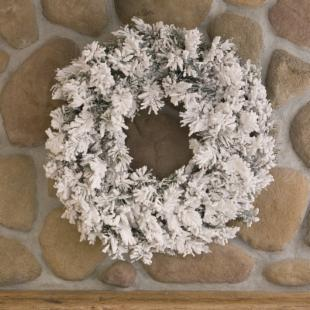30 in. Flocked Alaskan Pine Unlit Christmas Wreath