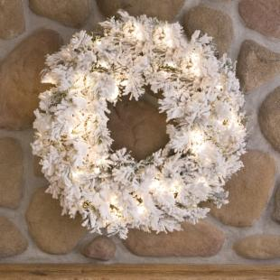 30 in. Flocked Alaskan Pine Pre-lit Christmas Wreath