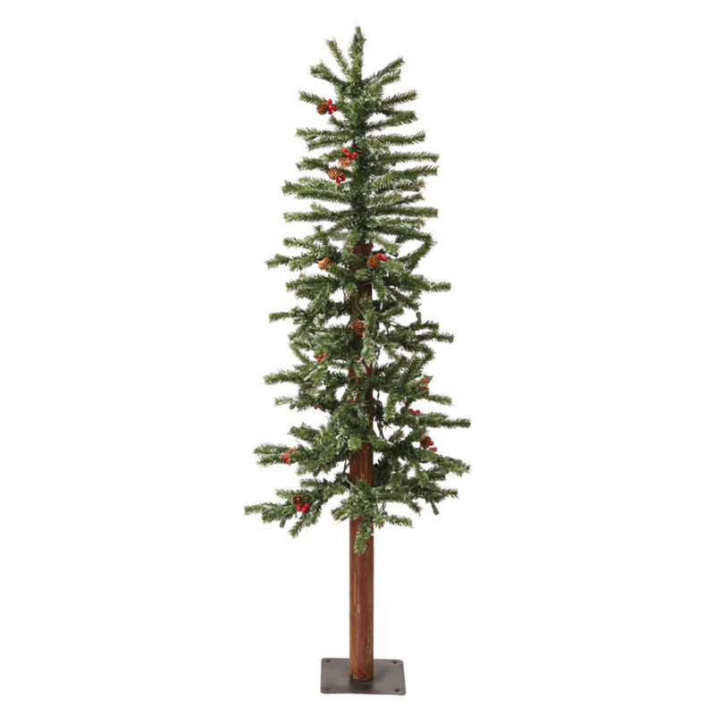Frosted Slim Christmas Tree: Vickerman 4 Ft. Frosted Alpine Berry Slim Unlit Christmas