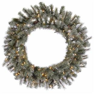 Frosted Sartell Pre-Lit Wreath