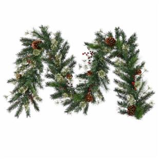 9 ft. Nisswa Berry Pine Unlit Garland