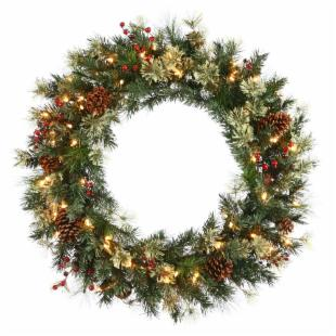 Nisswa Berry Pine Pre-Lit Wreath