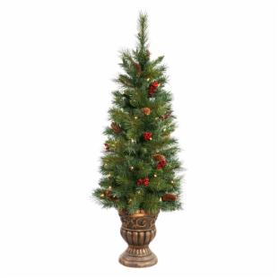 Potted Judson Mix Pine Pre-lit Tabletop Christmas Tree