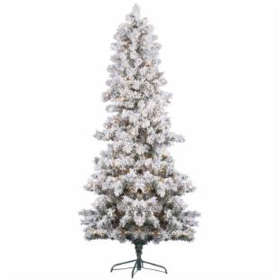 Vickerman Flocked White Pine Pre-Lit Christmas Tree