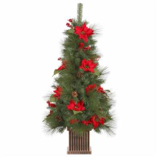 Vickerman Poinsettia Berry Pre-Lit Christmas Tree