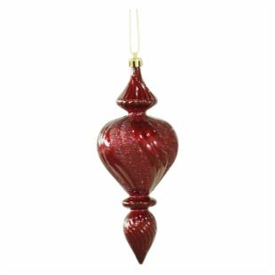 Vickerman 7 in. Burgundy Candy Finish Finial Ornament - Set of 3