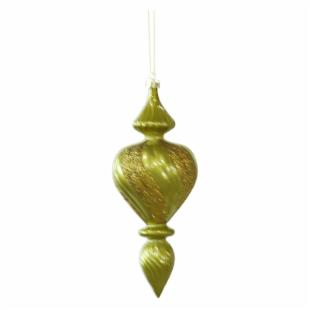 Vickerman 7 in. Dark Olive Candy Finish Finial Ornament - Set of 3