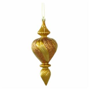 Vickerman 7 in. Antique Gold Candy Finish Finial Ornament - Set of 3