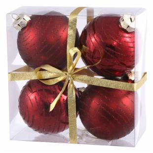 Vickerman 3 in. Burgundy Ball with Glitter Assorted - Set of 4