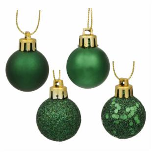 Vickerman 1 in. Emerald 4 Finish Ornament Assorted - Set of 18
