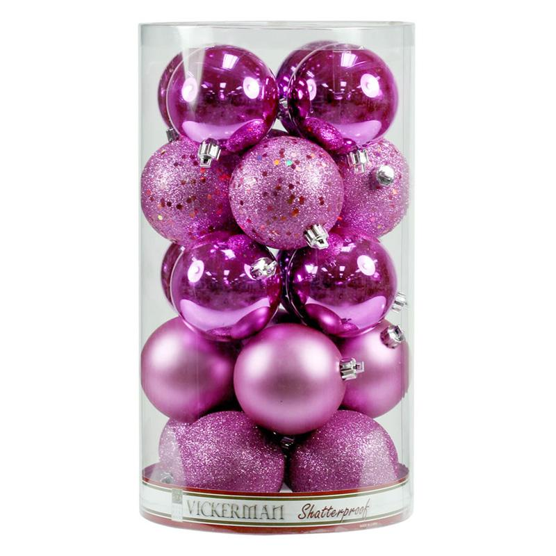 Vickerman 3 in. Orchid 4 Finish Ornament Assorted VKR955-1