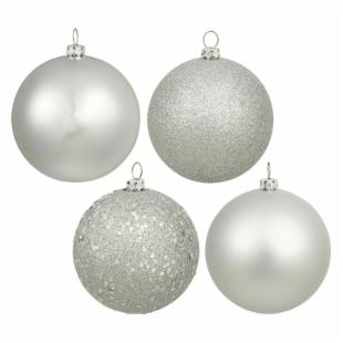 Vickerman 4 in. Silver 4 Finish Ball Assorted - Set of 4