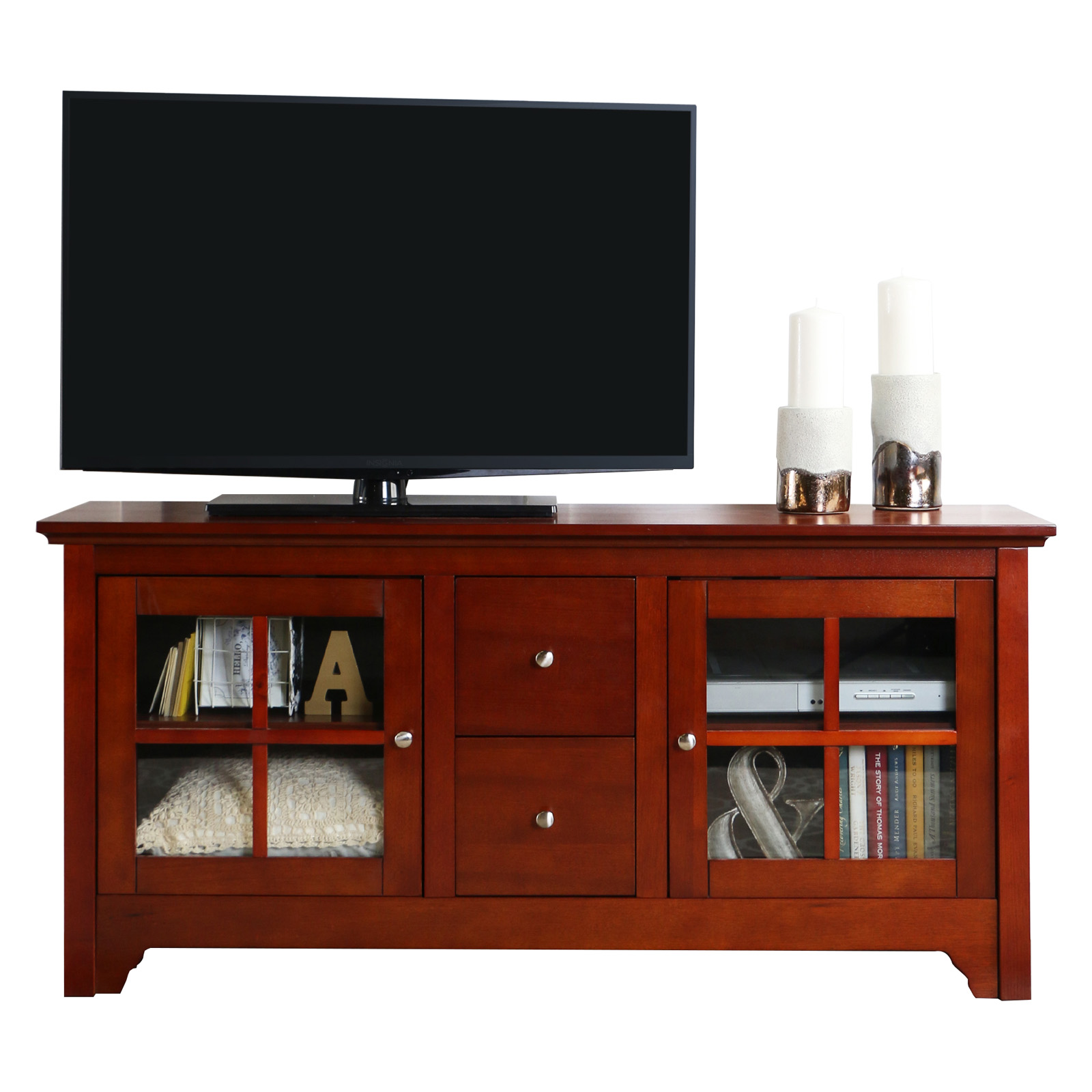 Very Impressive portraiture of  Wood Console with Drawers Walnut Brown TV Stands at Hayneedle with #B43808 color and 1600x1600 pixels