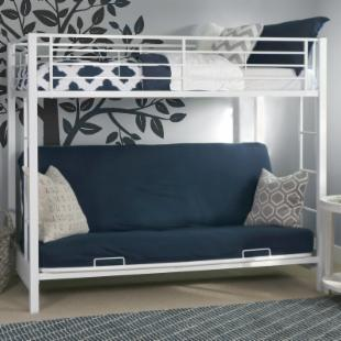 Sunrise Twin over Futon Bunk Bed - White