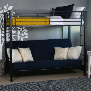 Sunrise Twin over Futon Bunk Bed - Black