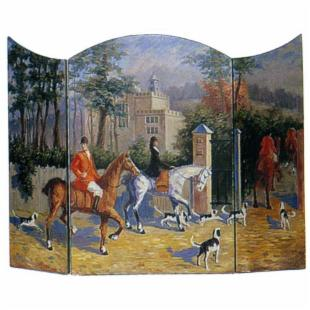 Wayborn 3 Panel Fox Hunt Decorative Fireplace Screen - Decorative Only