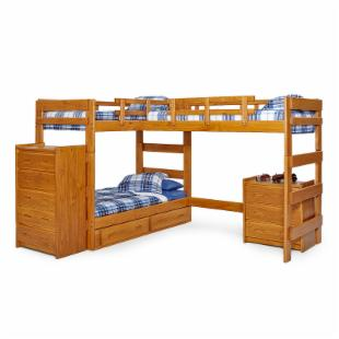 Woodcrest Heartland L-Shape Twin Loft Bed with Extra Loft