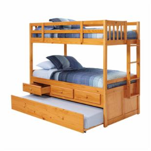 Riverton Honey Twin over Twin Bunk Bed - Free Mattresses