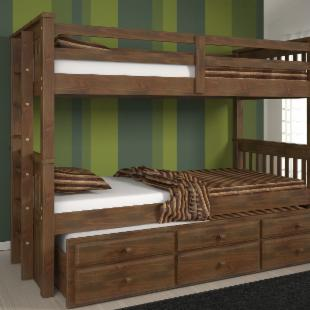 Riverton Chocolate Twin over Twin Bunk Bed  - Free Mattresses