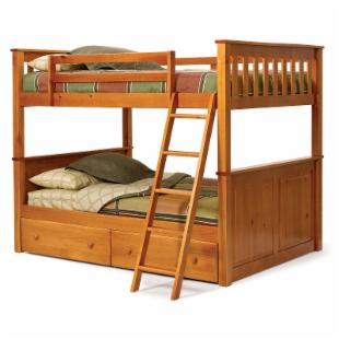 Pine Ridge Honey Pine Full over Full Bunk Bed - Free Mattresses