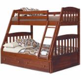  Logan Chocolate Mission Twin over Full Bunk Bed - Free Mattresses