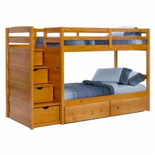 Pine Ridge Front Loading Stair Bunk Bed - Honey