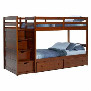 Pine Ridge Front Loading Stair Bunk Bed - Chocolate