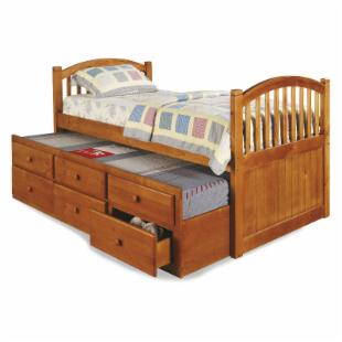 Arched Captain&#39;s Bed with Storage - Honey