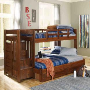 Heartland Twin over Full Bunk Bed with Stairs - Chocolate