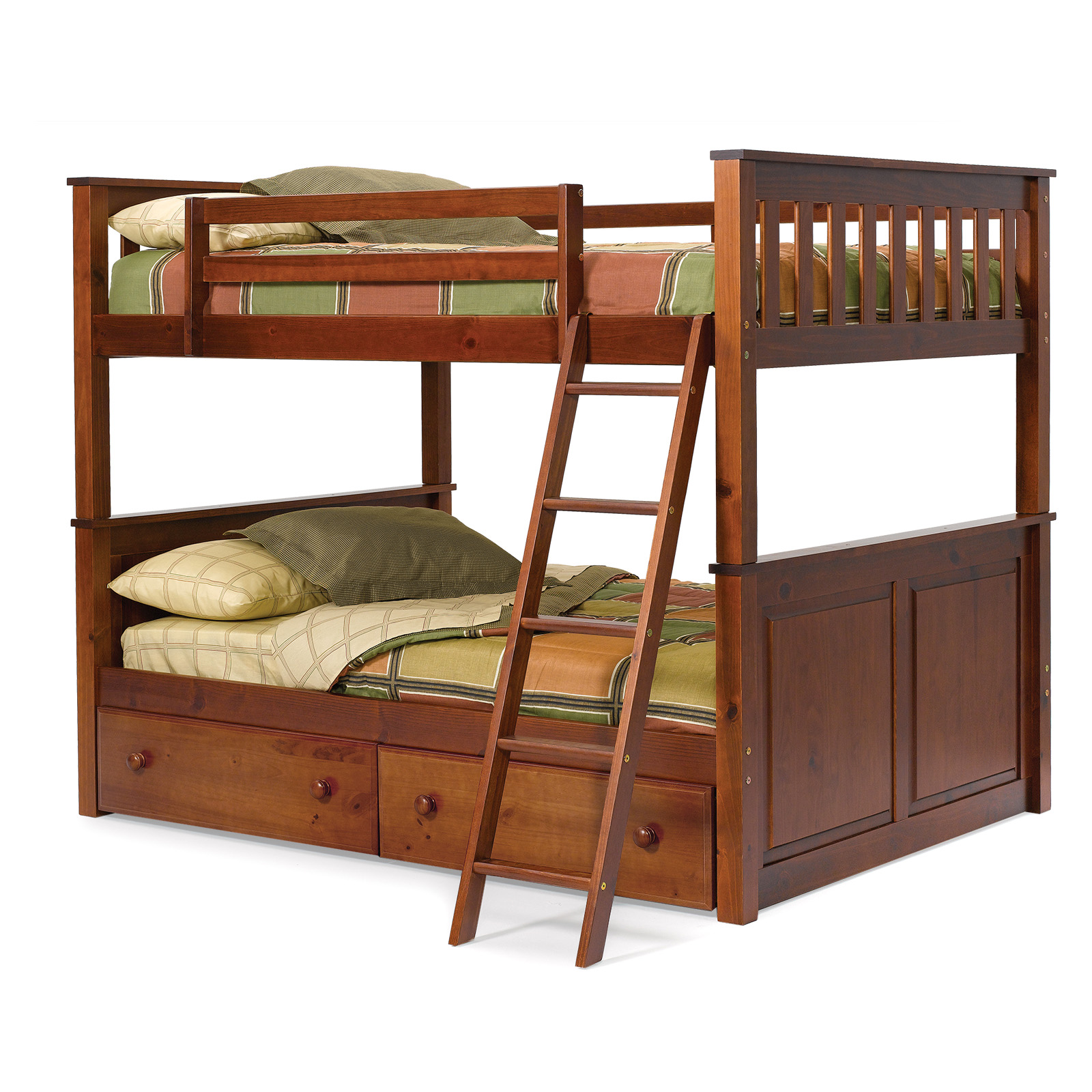 Woodcrest Pine Ridge Full over Full Bunk Bed - Chocolate - Bunk Beds ...