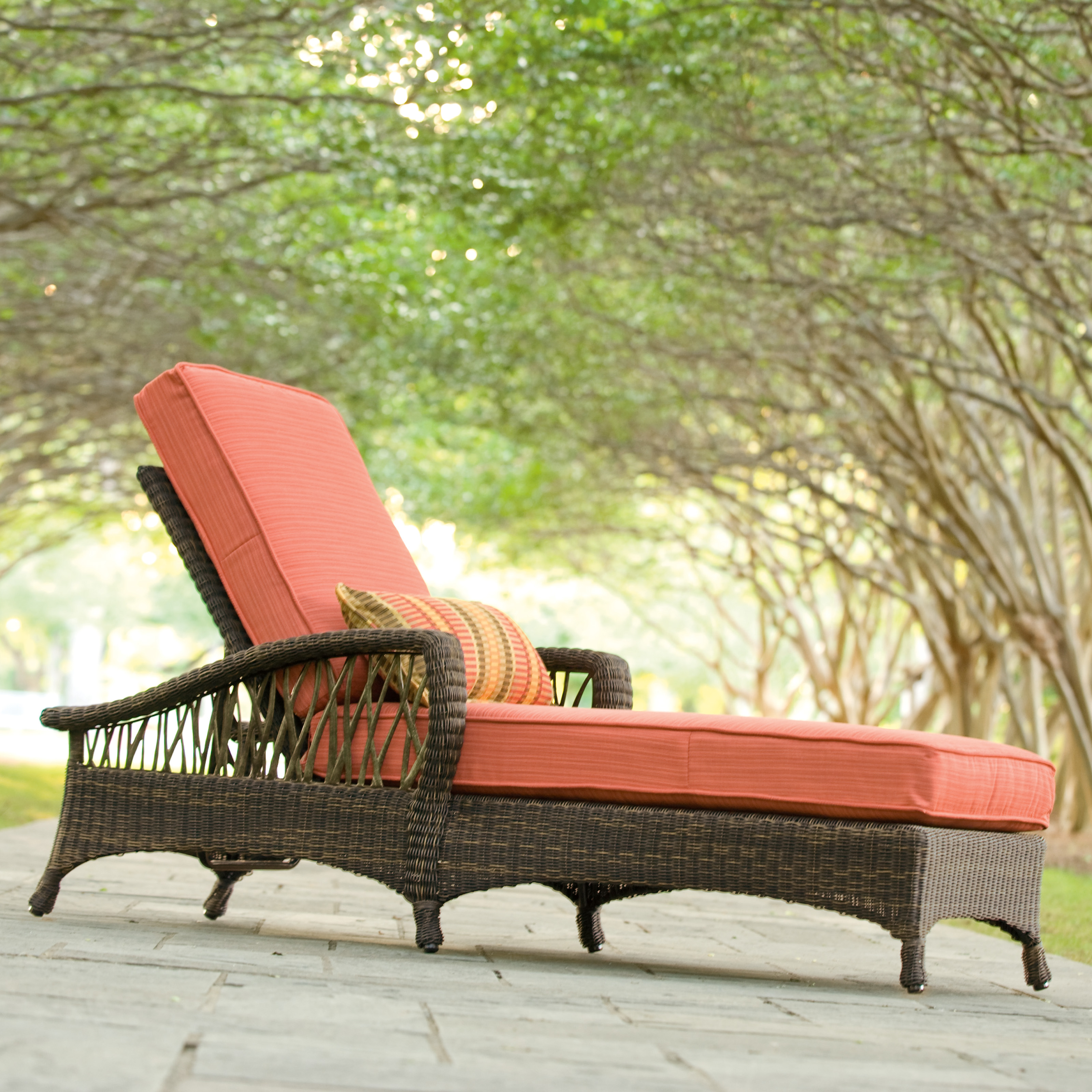 Woodard serengeti all weather wicker adjustable chaise for All weather chaise lounge