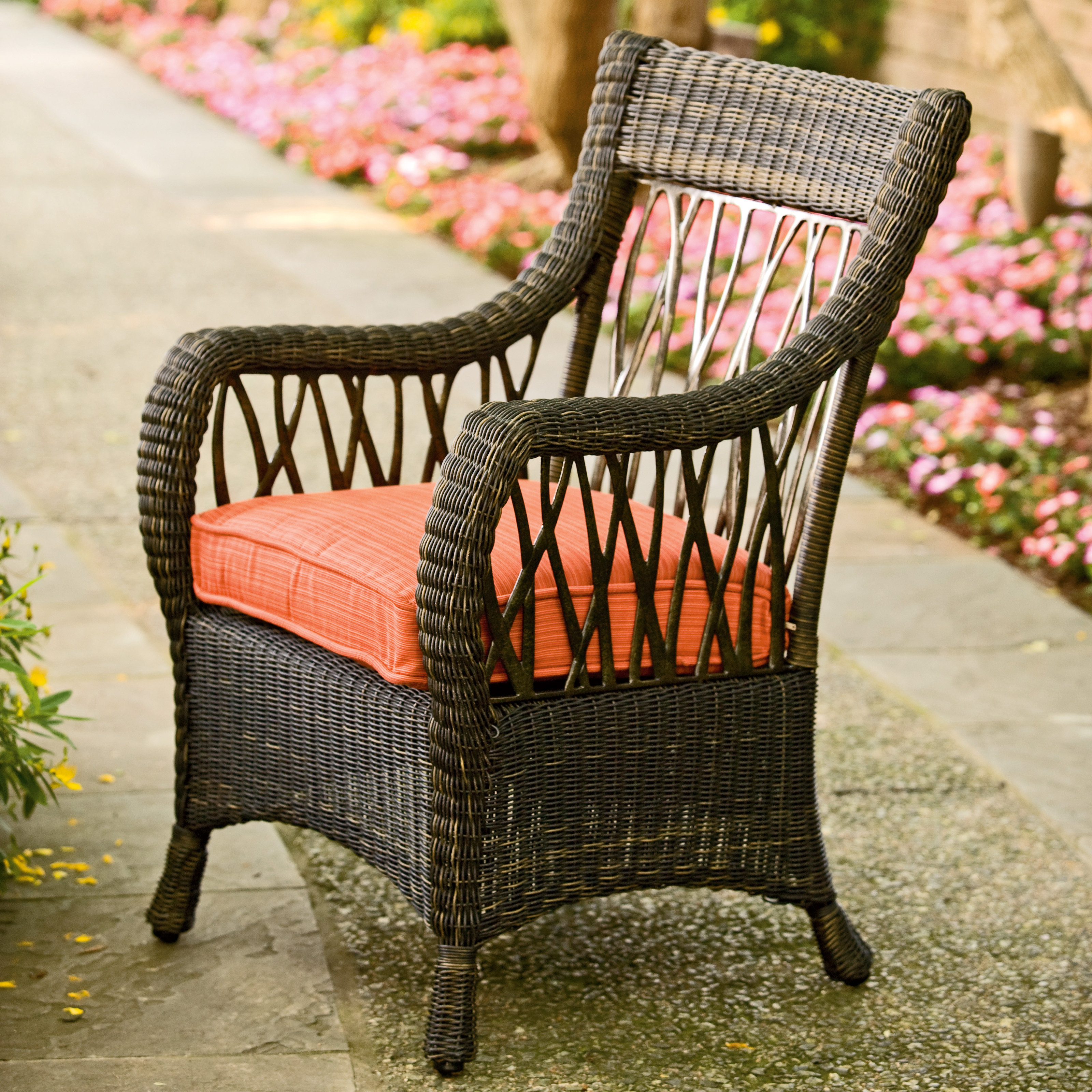 Woodard Serengeti All Weather Wicker Dining Arm Chair ...