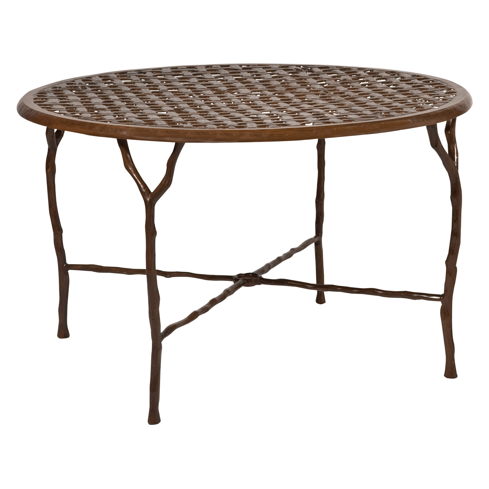 woodard latour 48 in round dining table with umbrella hole patio dining tables at hayneedle. Black Bedroom Furniture Sets. Home Design Ideas