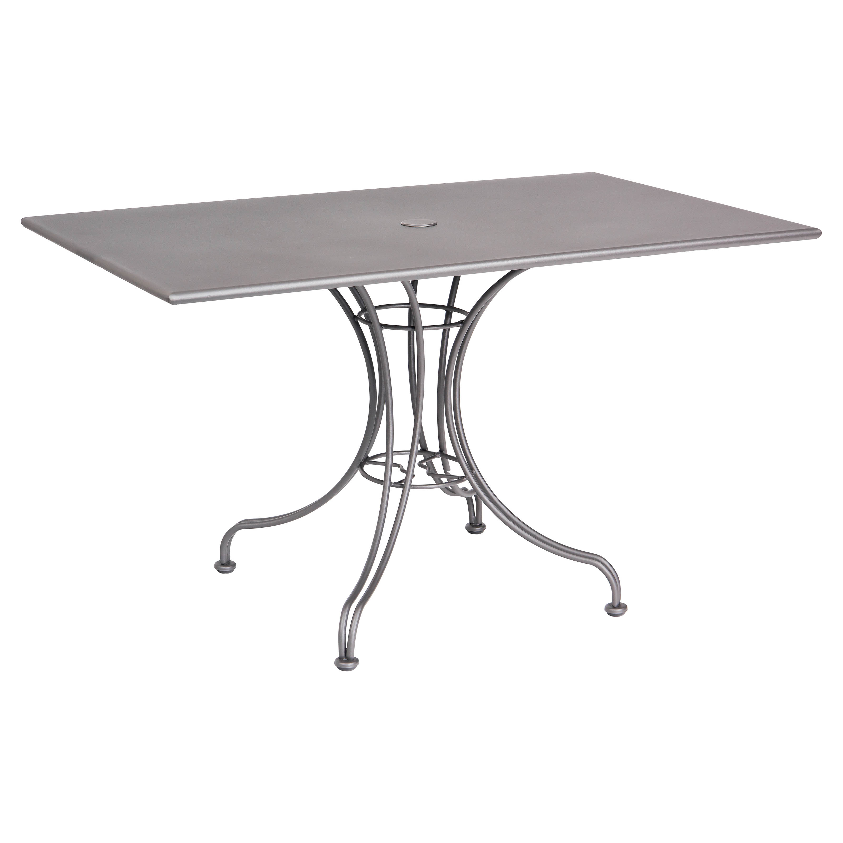 Woodard Solid Top 48 X 30 Rectangular Patio Dining Table With Umbrella Hole