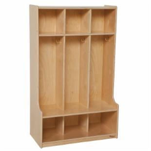 Wood Designs 3 Section Seat Locker - Natural