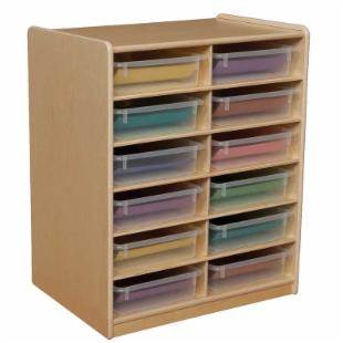 Wood Designs 12 Letter Tray Storage Unit with 3 in. Trays