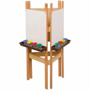 Wood Designs 3 Way Easel with Markerboard and Brown Trays