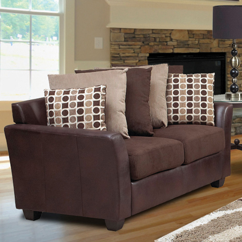Welton Chocolate Brown Microfiber Sofa with Accent Pillows at Hayneedle