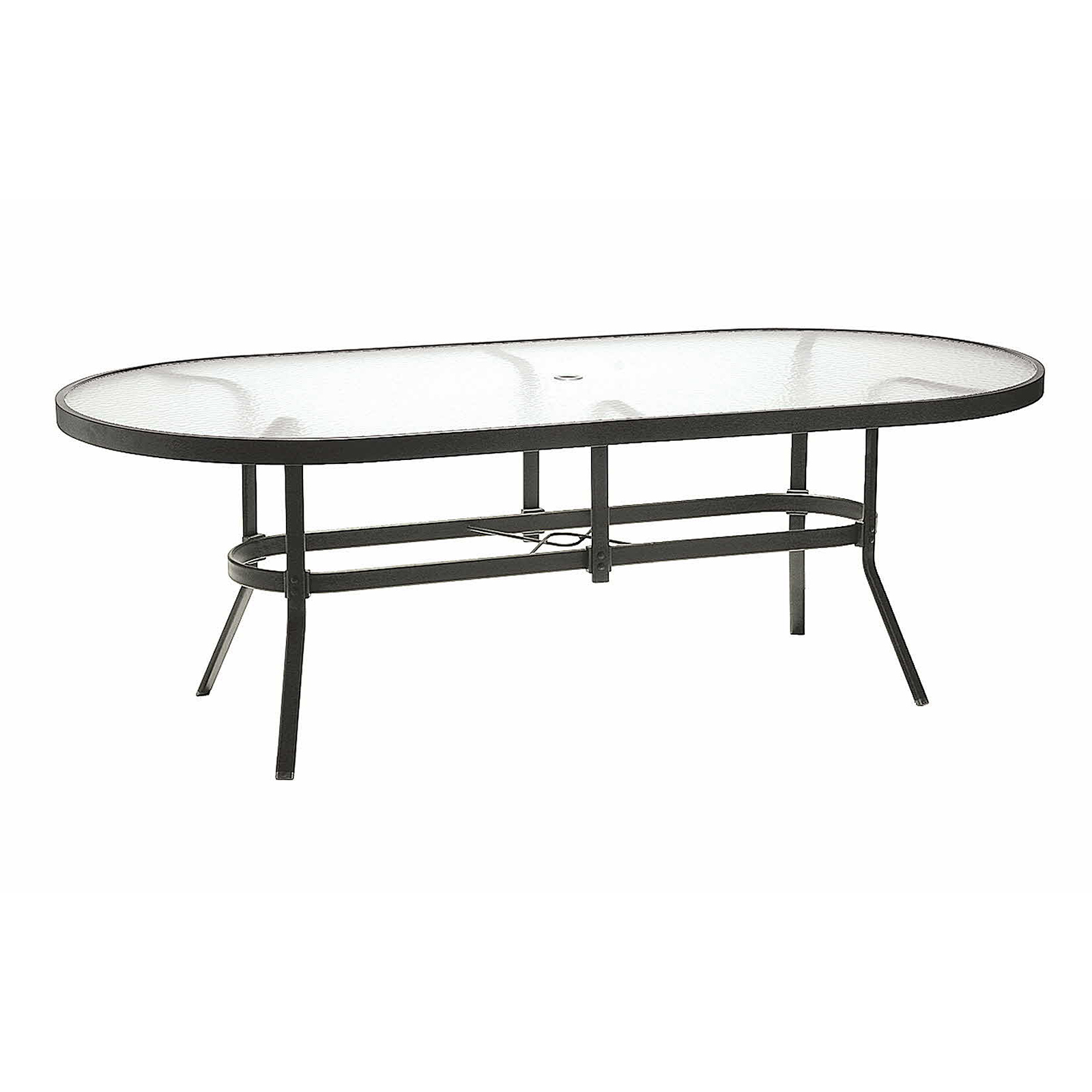 Winston 84 in Obscure Glass Top Oval Dining Table Patio