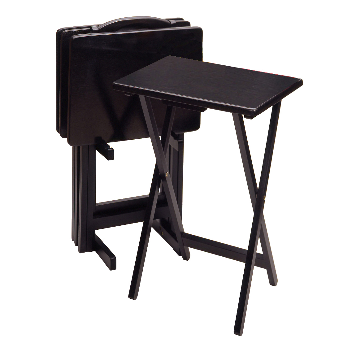 Cosco Folding Tables Winsome Black 5-Piece Rectangular TV Table Set - TV Trays at Hayneedle