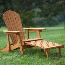  Big Daddy Reclining Adirondack Chair with Pull Out Ottoman- Natural