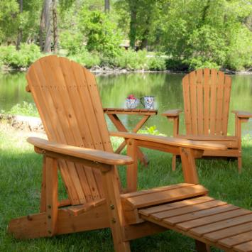  Big Daddy Reclining Adirondack Chair Set with FREE Side Table - Natural