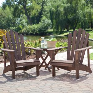 Coral Coast Hubbard Adirondack 2 Chair Set with FREE Side Table - Dark Brown