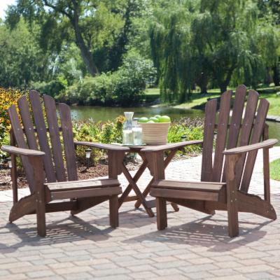 Coral Coast Adirondack Chair Set with FREE Side Table - Dark Brown
