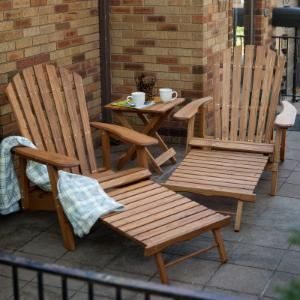 Coral Coast Grand Daddy Oversized Adirondack 2 Chair Set with FREE Side Table - Natural