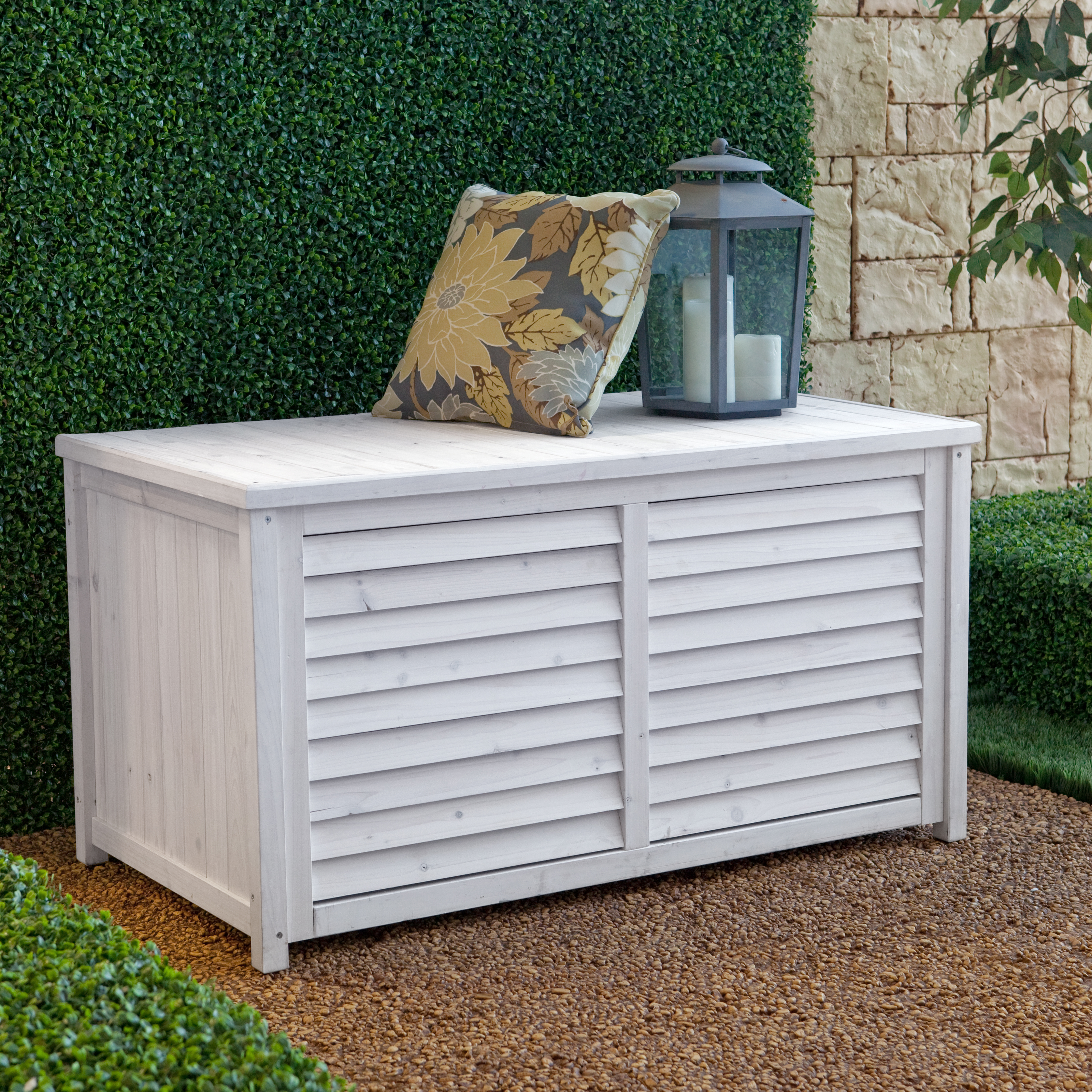 Coral Coast Outdoor Wood Deck Box White Wash Outdoor