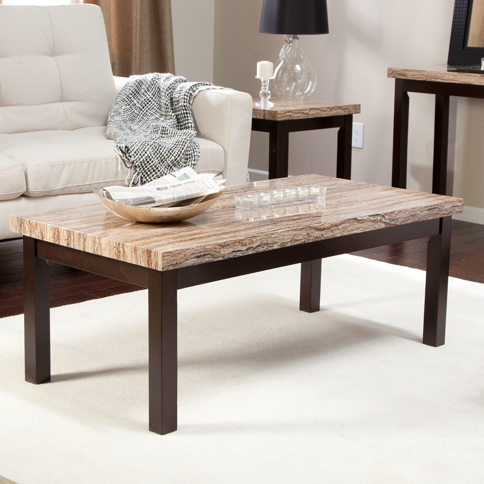 carmine faux marble coffee table coffee tables at hayneedle. Black Bedroom Furniture Sets. Home Design Ideas
